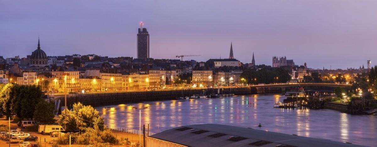 Nantes au coucher de soleil