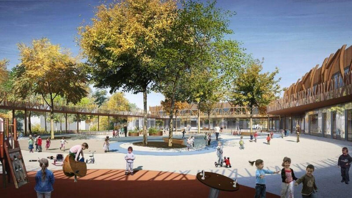 Visuel de la cour de la nouvelle école prévue dans le quartier Doulon-Gohards en 2022