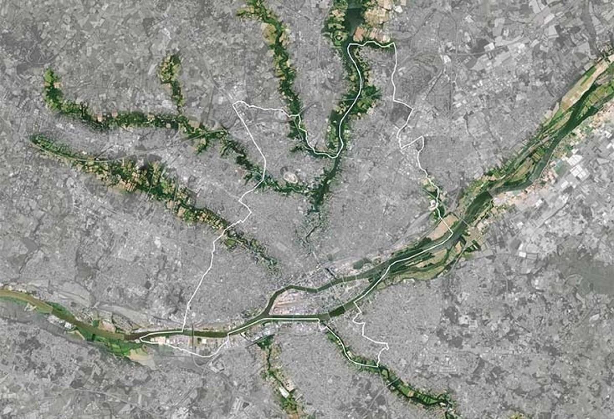 Vue satellite de l'étoile verte de Nantes