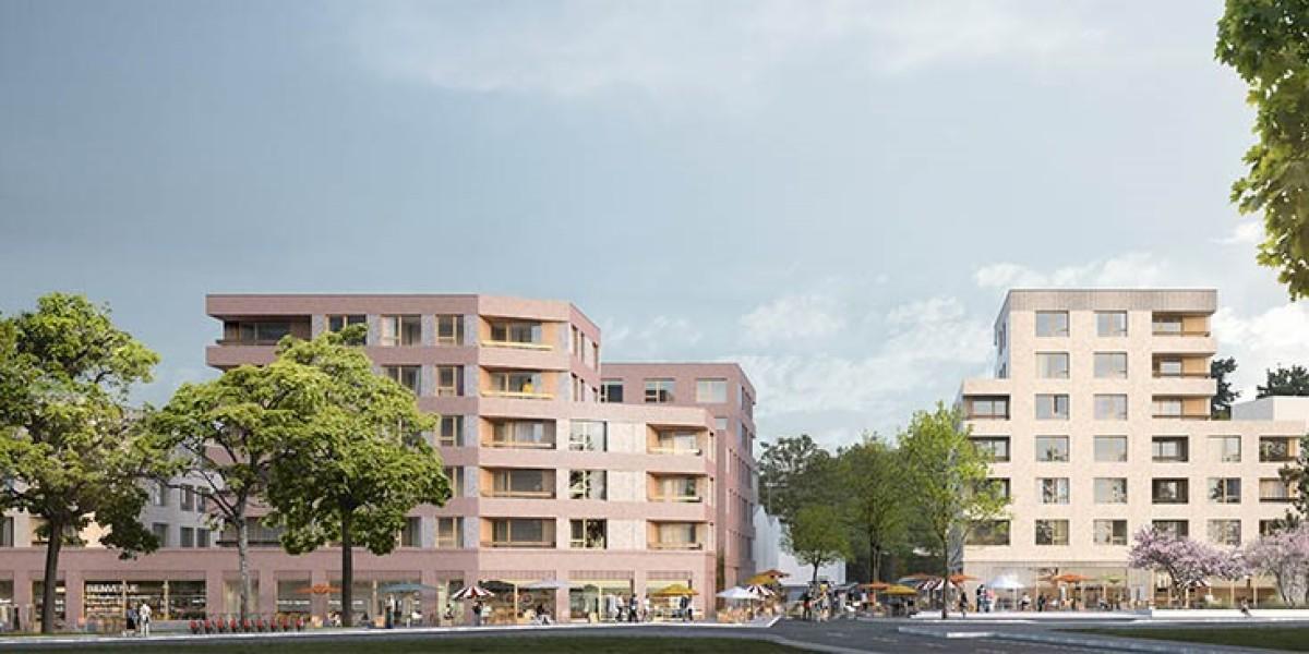 Le projet de coeur de quartier à Bottiere Pin Sec, articulé autour d'un pôle commercial et d'une maison du projet