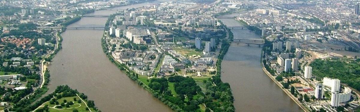 Vue aérienne de l'île de Nantes
