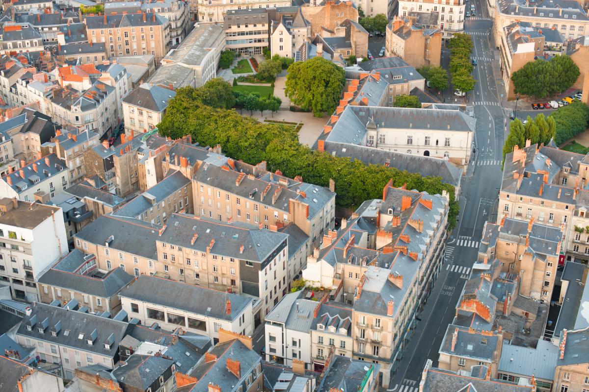 Politiques publiques à Nantes - Vue aérienne sur la vieille ville de Nantes