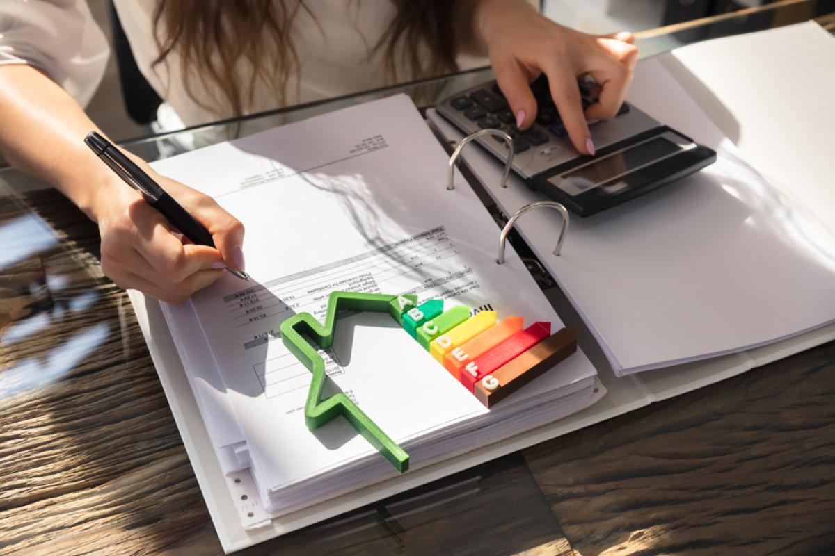 Avantages de l'immobilier neuf – Femme Calculant La Facture À L'Aide D'Un Graphique Économique En Énergie
