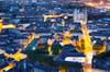 Vue aérienne de Nantes de nuit