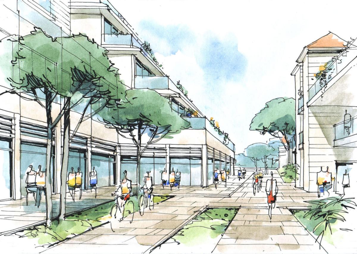 Projet Doulon Gohards - Croquis d'un quartier apaisé et urbain